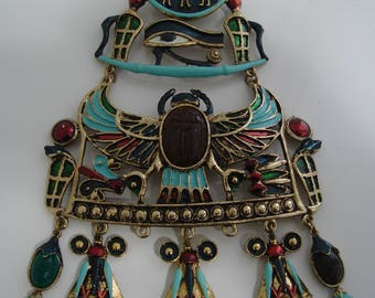 Vintage signed Diorio's Egyptian Scarab Revival Necklace Chest Piece