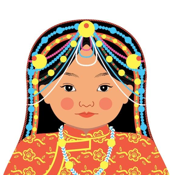 Tibetan Doll Art Print with traditional folk dress, matryoshka