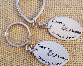 His and Hers Key chain set - Couple keychains - Couple gift - Valentines Day gift for couple Personalized Key chain set - Forever and Always