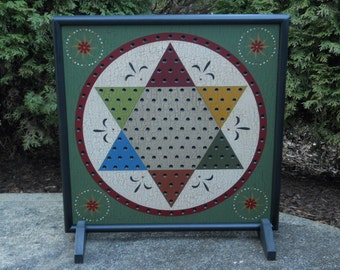 "19"", Chinese Checkers, Game Board, Wood, Folk Art, Game Boards, Primitive, Wooden, Board Game, Hand Painted"