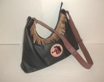 Southwesten black fringed leather bag