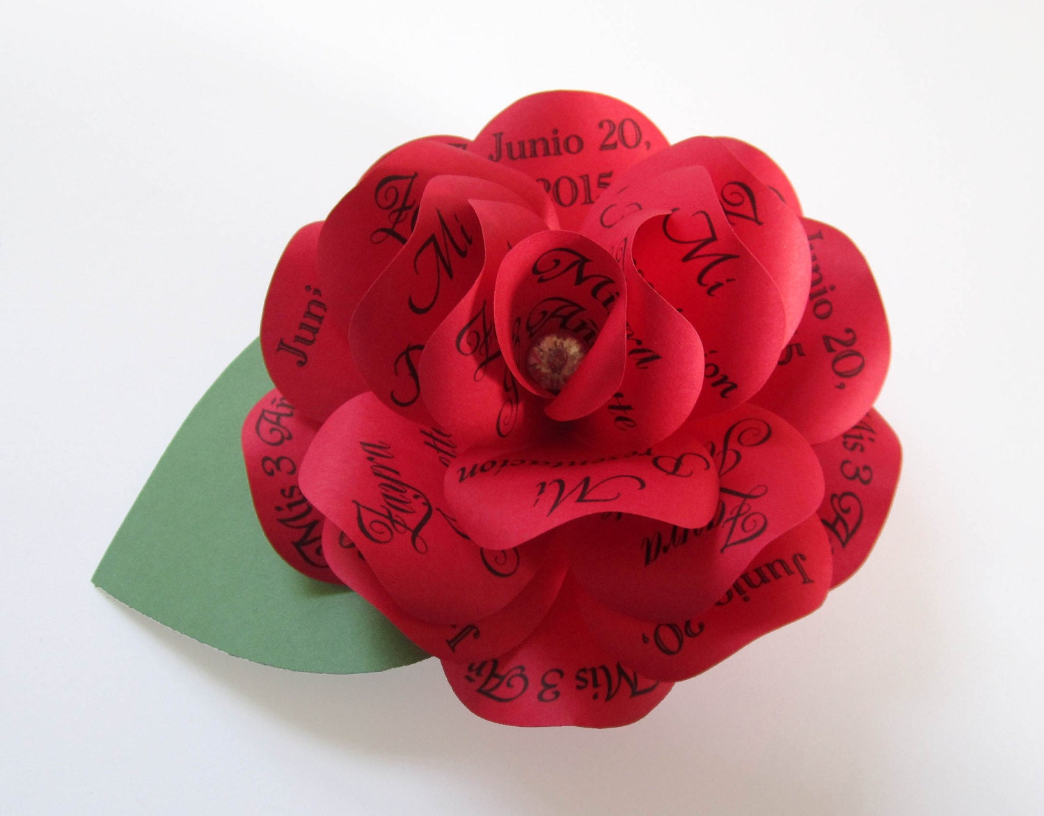 Red Paper Rose Wedding Birthday Quinceanera Invitation with