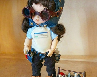 Steampunk leather helmet, goggles and belt for tiny bjd doll Pukifee, Lati Y