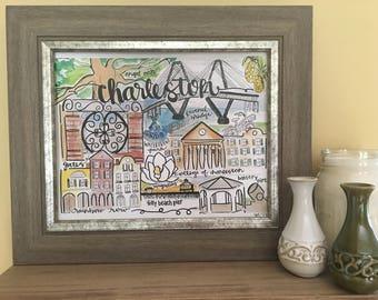 Charleston SC art, College of Charleston gift, Charleston lover gift, Charleston gift, Charleston SC landmark Handmade Watercolor Art Print