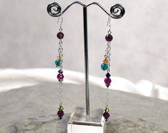 Extra Long Earrings - Crystal Earrings - Colorful Earrings - Bohemian Jewelry - Rainbow Earrings - Boho Earrings - Colorful Jewelry