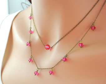 Pink Crystal Layering Necklaces Genuine Swarovski Beads Antiqued Brass Chain Wire Wrapped Choker Hot Pink Jewelry