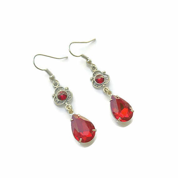 long crystal earrings drops dangle red dianadeluxe soutache