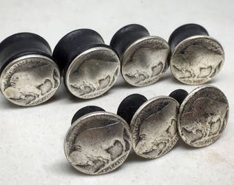 """Organic Rustic Buffalo Nickel Ebony Wood Plugs-Sizes 2g(6mm) through 1"""" (25.5mm) Wood Gauges/ Black Plug Gages/ Silver"""