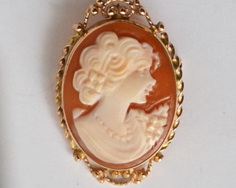Gold cameo, 14kt cameo pin and pendant, cameo portrait brooch