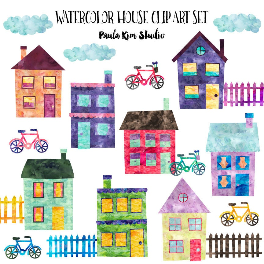 Beautiful Neighborhood Clip Art, Watercolor House Clipart With Buildings, Bikes,  Clouds And Fences, Instant Digital Download