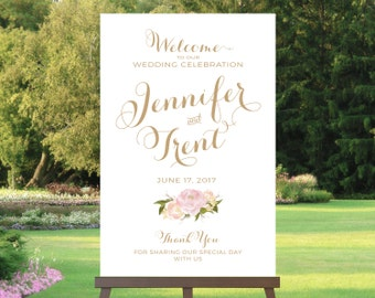 Wedding Welcome Sign | Various Sizes | Vintage | Antique Gold | Romantique | Add Your Names | I Create and You Print