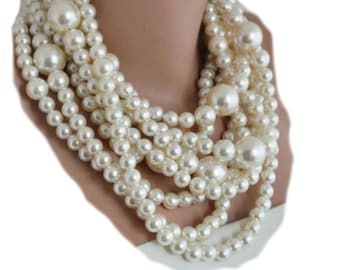 1950's Inspired Wedding Pearl Necklace ,Huge Pearl Necklace, pearl necklace multistrand choker Ivory pearl necklace, chunky pearls ,