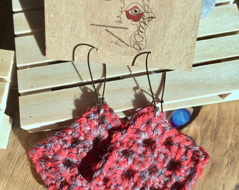 Red Crochet Dangle Earrings