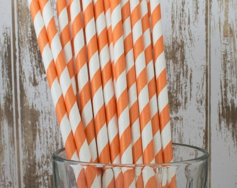 """25 Crayola Orange and white barber striped paper drinking straws -  with FREE Blank Flag Template.  See also - """"Personalized"""" flags option."""