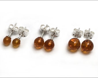 Amber Round Studs Earrings - Size Options: 4mm, 5mm or 6mm