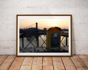 New York Photo Fine Art Print - Brooklyn Bridge Backlight Sun Rising Skyline in color on Hudson Picture of Manhattan Street Photo Poster
