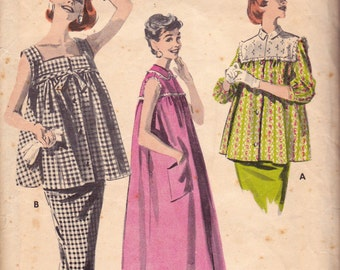 Butterick 8015 Womens Babydoll Maternity Smock Skirt Top & Dress 50s Vintage Sewing Pattern Size 12 Bust 32 inches
