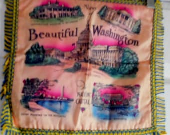 FAB Vintage Washington DC Souvenir Pillow Cover-NOS-Never Used