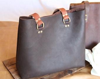 Structured Tote Bag, Kodiak Bandito, Leather Bag, Brown Leather Bag, Tote Bag, Unlined Leather, Raw Edge