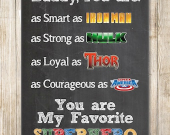 Father's Day Superhero - 8x10 Chalkboard Design - Instant Download