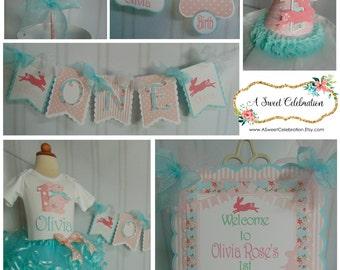 Bunny Shabby Chic Rabbit  -1st birthday Rabbit banner Easter spring  Birthday hat birthday cake topper