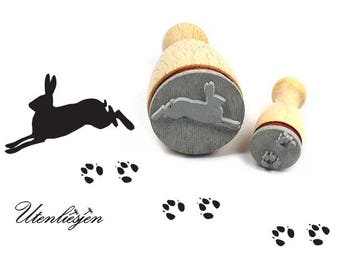 Stamp rabbit or hare and track, 22 mm + 12 mm