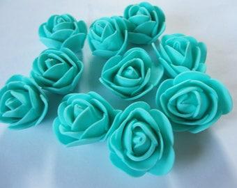10 turquoise Flowers wedding bridesmaid wedding table decorations hair flowers aqua foam flower decoration birthday decoration Foam Roses