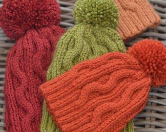 Bobble Hat knitting pattern 'Autumn'