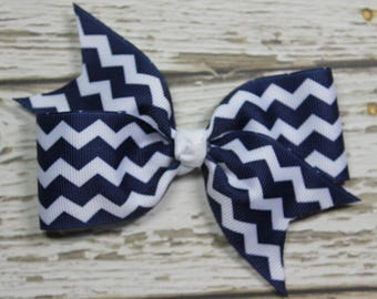 NEW White Grosgrain Ribbon with Navy Blue Chevron Boutique Hair Bow on Lined Alligator Clip