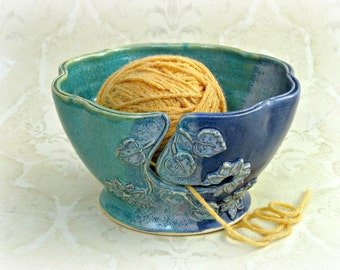 Yarn Bowl in Aqua and Purple with Split Ruffled Rim and Raised Floral Design