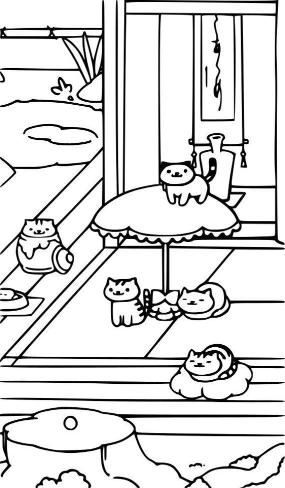 items op etsy die op neko atsume coloring page cat lover instant download print your own coloring pages lijken
