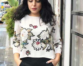 Floral long sleeve blouse / Crepe blouse / Boho top / oversize flower print