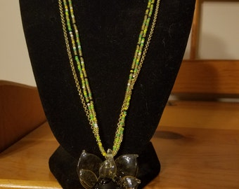 Pale yellow glass flower necklace w/ gold chain
