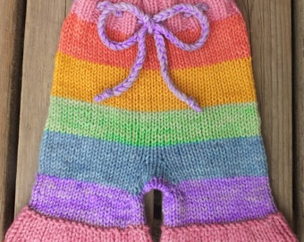 Handknit Wool Shorts, Wool Soaker, Wool Diaper Cover, Cloth Diaper Cover, size Small, 3-6 months