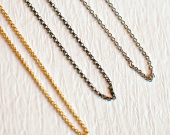 Extra Chain for Charms, 1.5 mm in stainless steel, gold filled, and brass