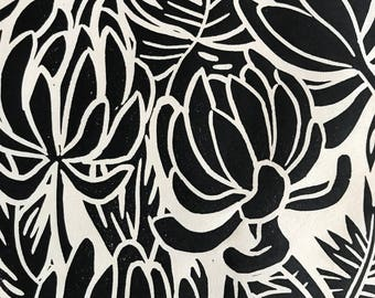 "Original Linocut Block print, ""Succulents"" made by Robyn Denny"