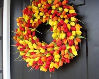 SPRING WREATH SALE Spring Wreath- Mothers Day Gift- Door Wreath- The Original Spring Tulip Wreath- 18 inch, custom colors
