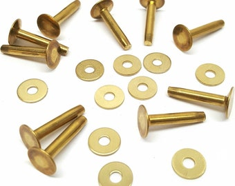 """10 Pack #12 Solid Brass Rivets And Burrs - 20 Pieces Total - 3/4"""" (L)"""