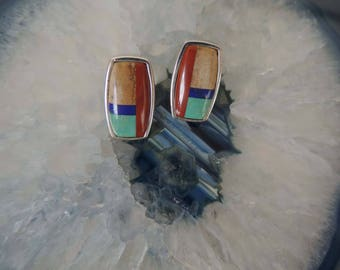 Inlaid Post Earrings Sterling Silver, Lapis - Picture Jasper- Turquoise - Red Jasper - vintage