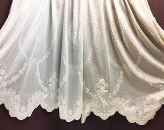 Sheer Fabric - Polyester Patterned Sheer Panel - White or Champagne Sheer  - Decorative Shaped Hem  - Singed Flower Fabric - P019 - 1 Panel