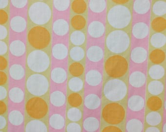 2 1/3 yrds 60's fabric /mod polka dot fabric /  pink, orange yellow and white striped dotted fabric
