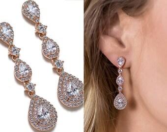 Bridal Jewelry Rose Gold Earrings Wedding Jewelry Teardrops Earrings Rose Gold Jewelry Long Earrings Bridal Crystal Earrings E150-RG