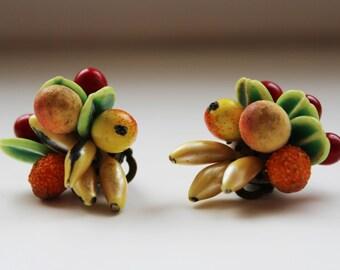 Authentic vintage fruit salad, Carmen Miranda bunch style clip on earrings. West German costume jewellery