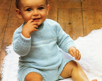 Vintage baby rompers knitting pattern PDF romper suit sweater pants jumper pilch 18-20 inch QK 5ply sport Instant Download
