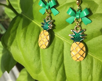 Pineapple Earrings with Bows