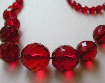 1930s ORANGE Czech glass bead necklace