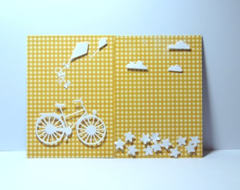 Hidden message, bike and kite birthday card.  Hand made