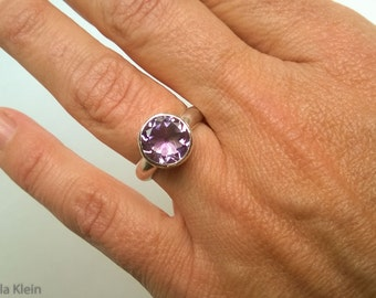 Faceted Amethyst Solitaire Ring size 6