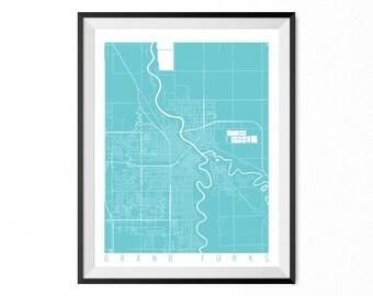 GRAND FORKS Map Art Print / North Dakota Poster / Grand Forks Wall Art Decor / Choose Size and Color
