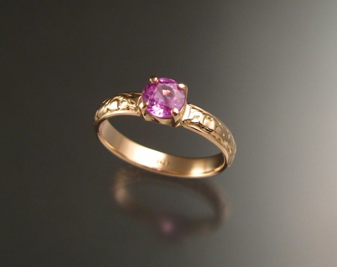 Pink Sapphire 14k rose gold 5.5mm round Natural stone pink diamond substitute Victorian Wedding ring made to order in your size